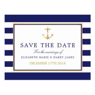Vintager Seegoldanker, der Save the Date Wedding Postkarte