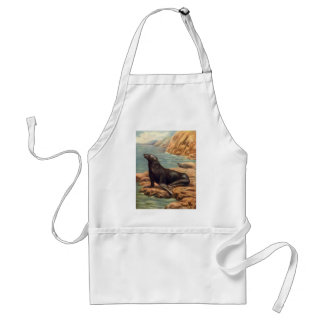 Vintager Seelöwe durch die Küste, Meeressäugetiere Schürze