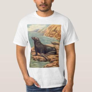 Vintager Seelöwe durch die Küste, Meeressäugetiere T-Shirt