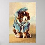 Vintager Seemann-Hund Plakatdrucke
