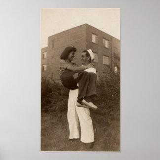 Vintager Seemann und Freundin Poster