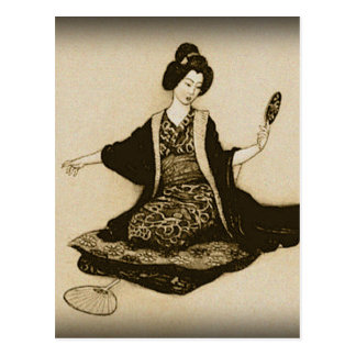 Vintager Sepia japanischer Geisha, der mit Spiegel Postkarte