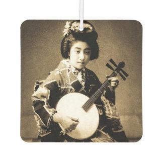 Vintager Sepia tonte den japanischen Geisha, der Lufterfrischer