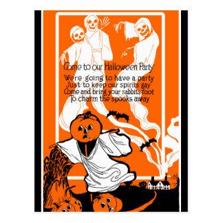Vintager Skeleton Geist-Gruß Postkarte