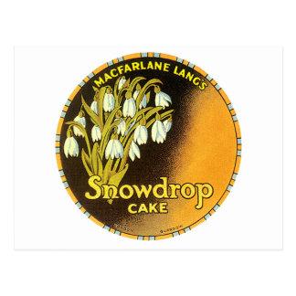 Vintager Snowdrop Kuchen-Aufkleber Postkarte