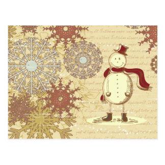 Vintager Snowman und Schneeflocken Postkarte