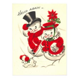 Vintager Snowman und Snowwoman Postkarte