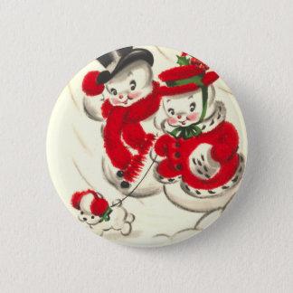 Vintager Snowman und Snowwoman runder Knopf Runder Button 5,1 Cm