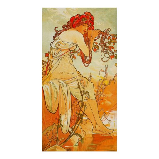 Vintager Sommer durch Alphonse Mucha Poster