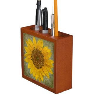 Vintager Sonnenblume-Schreibtisch-Organisator Stifthalter
