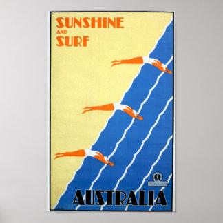 Vintager Sonnenschein und Brandung in Poster