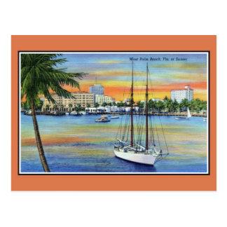 Vintager Sonnenuntergang bei West Palm Beach Postkarte