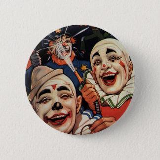 Vintager Spaß, lachende Zirkus-Clowns und Polizei Runder Button 5,7 Cm