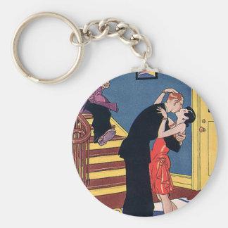 Vintager Spaß, Liebe und Romance, spät - Nachtkuß Schlüsselanhänger