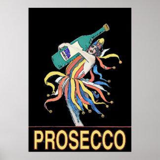 Vintager Spaßvogel mit Prosecco Flasche, Poster