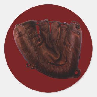 Vintager Sport, antiker lederner Baseballhandschuh Runder Aufkleber