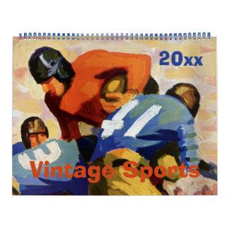 Vintager Sport, Baseball, Fußball und Basketball Abreißkalender