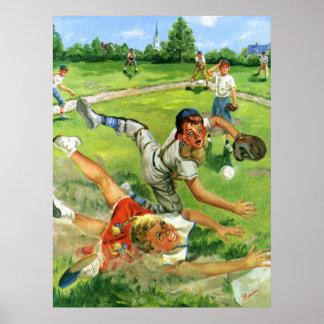 Vintager Sport Baseball, Kinderteam-Spielen Poster