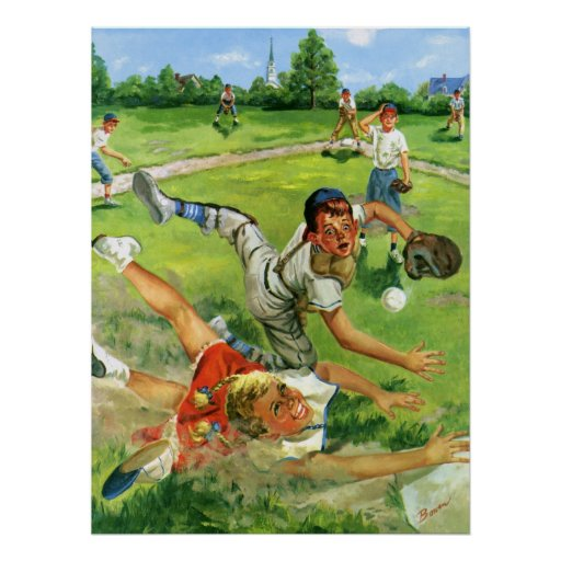 Vintager Sport Baseball, Kinderteam-Spielen Plakatdrucke