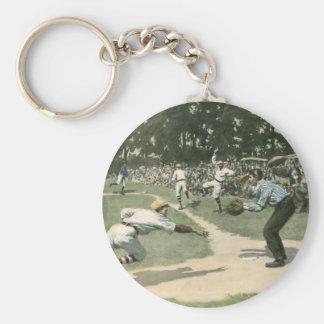 Vintager Sport, Baseball-Spieler, der in Zuhause Schlüsselanhänger