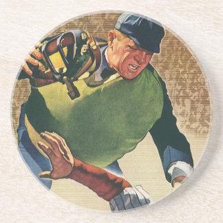 Vintager Sport-Baseball-Spieler, der Sandstein Untersetzer