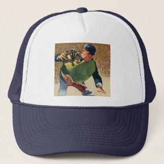 Vintager Sport-Baseball-Spieler, der Truckerkappe