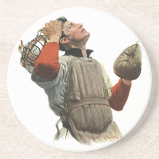 Vintager Sport-Baseball-Spieler, Fänger schauen Getränkeuntersetzer