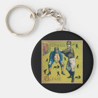 Vintager Sport-Baseball, viktorianische Spieler Schlüsselanhänger