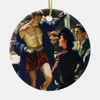 Vintager Sport, boxender Boxer Weihnachtsornament