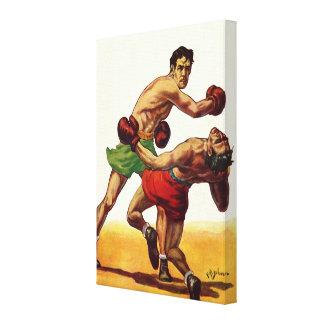 Vintager Sport, Boxer in einem Verpacken-Kampf Leinwanddruck