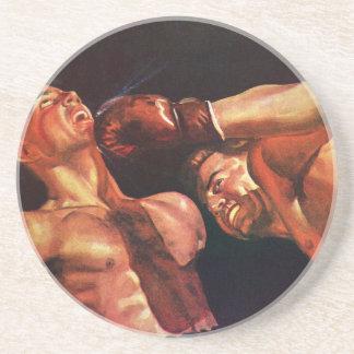 Vintager Sport, Boxer in einer Boxveranstaltung Sandstein Untersetzer
