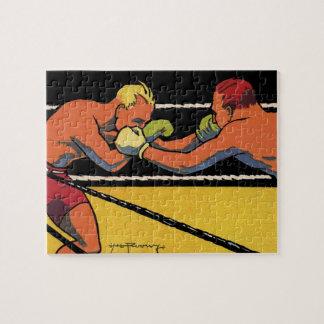 Vintager Sport, der, Boxer kämpfen im Ring boxt Puzzle