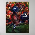 Vintager Sport-Fußball-Spieler-Quarterback Plakatdrucke