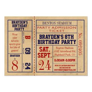 Vintager Sport-Karten-Geburtstag laden - 12,7 X 17,8 Cm Einladungskarte