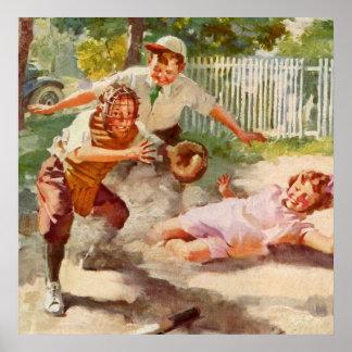Vintager Sport, Kinder, die Baseball spielen Plakatdrucke