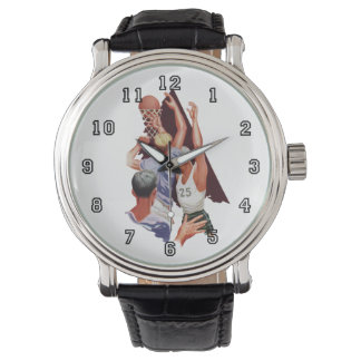 Vintager Sport, Mann-Basketball-Spieler mit Ball Armbanduhr