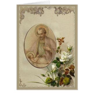 Vintager St Joseph mit Baby Jesus Karte