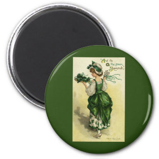 Vintager St Patrick Tag, Frauen-grüne Kleeblätter Runder Magnet 5,7 Cm