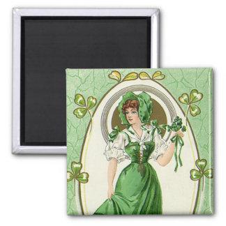 Vintager St Patrick Tag, meine hübschen Iren Quadratischer Magnet