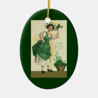 Vintager St Patrick TagesLass, glückliche Keramik Ornament