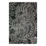Vintager Stammes- japanischer Drache Plakatdruck