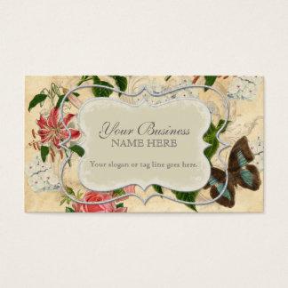 Vintager Stargazer-Lilien-Rosen-Schmetterlingn Visitenkarte