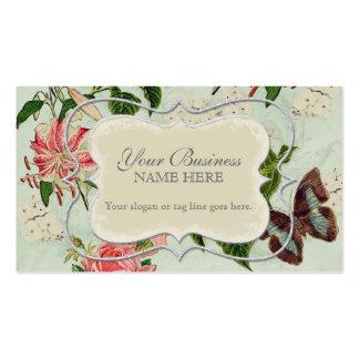 Vintager Stargazer-Lilien-Rosen-Schmetterlingn Visitenkarten Vorlage
