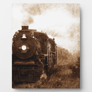 Vintager Steampunk Eisenbahn-Antiken-Dampf-Zug Fotoplatte