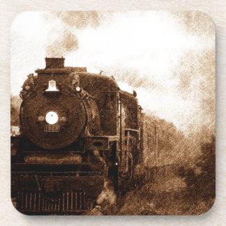 Vintager Steampunk Eisenbahn-Antiken-Dampf-Zug Getränkeuntersetzer