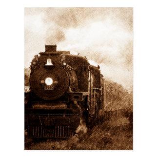Vintager Steampunk Eisenbahn-Antiken-Dampf-Zug Postkarte
