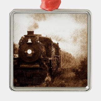 Vintager Steampunk Eisenbahn-Antiken-Dampf-Zug Quadratisches Silberfarbenes Ornament