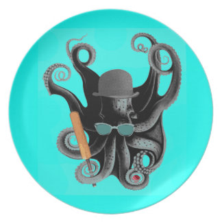 Vintager steampunk Krake Cricketer Melaminteller
