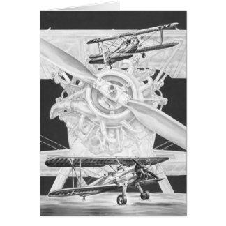 Vintager Stearman Doppeldecker - altes Biwing Flug Grußkarten