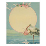 Vintager Storch mit Baby-Mädchen in der rosa Decke Poster